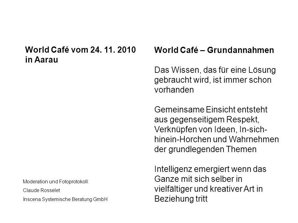 World Café vom 24. 11. 2010 in Aarau Moderation und Fotoprotokoll: Claude Rosselet Inscena Systemische Beratung GmbH World Café – Grundannahmen Das Wi