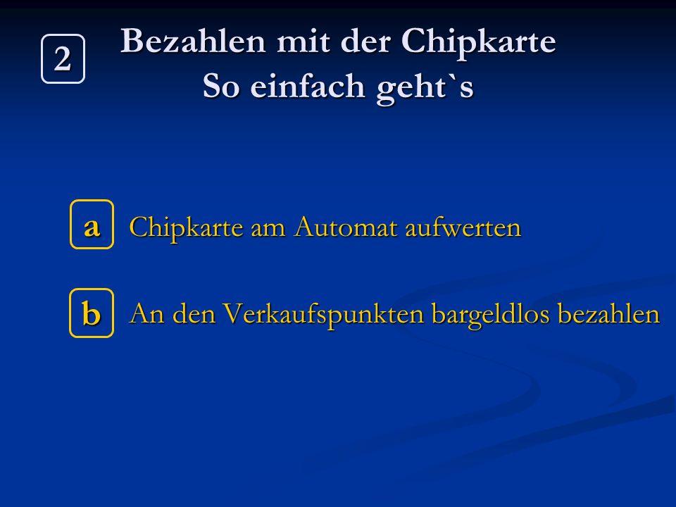 Bezahlen mit der Chipkarte So einfach geht`s Chipkarte am Automat aufwerten Chipkarte am Automat aufwerten An den Verkaufspunkten bargeldlos bezahlen
