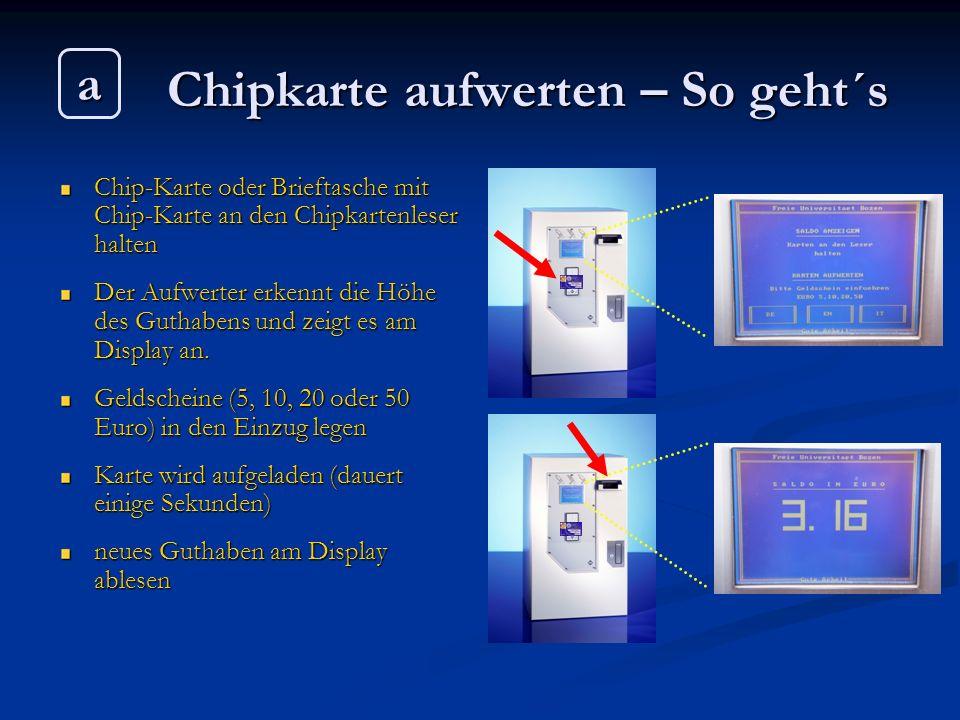 Chipkarte aufwerten – So geht´s Chip-Karte oder Brieftasche mit Chip-Karte an den Chipkartenleser halten Der Aufwerter erkennt die Höhe des Guthabens
