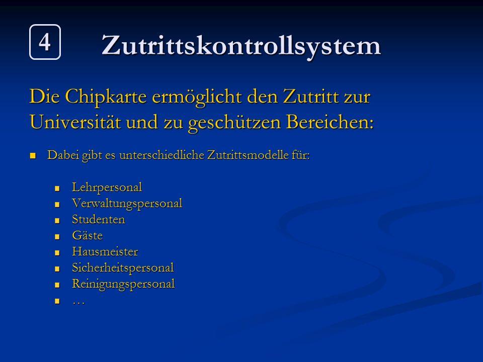 Zutrittskontrollsystem Die Chipkarte ermöglicht den Zutritt zur Universität und zu geschützen Bereichen: Dabei gibt es unterschiedliche Zutrittsmodell