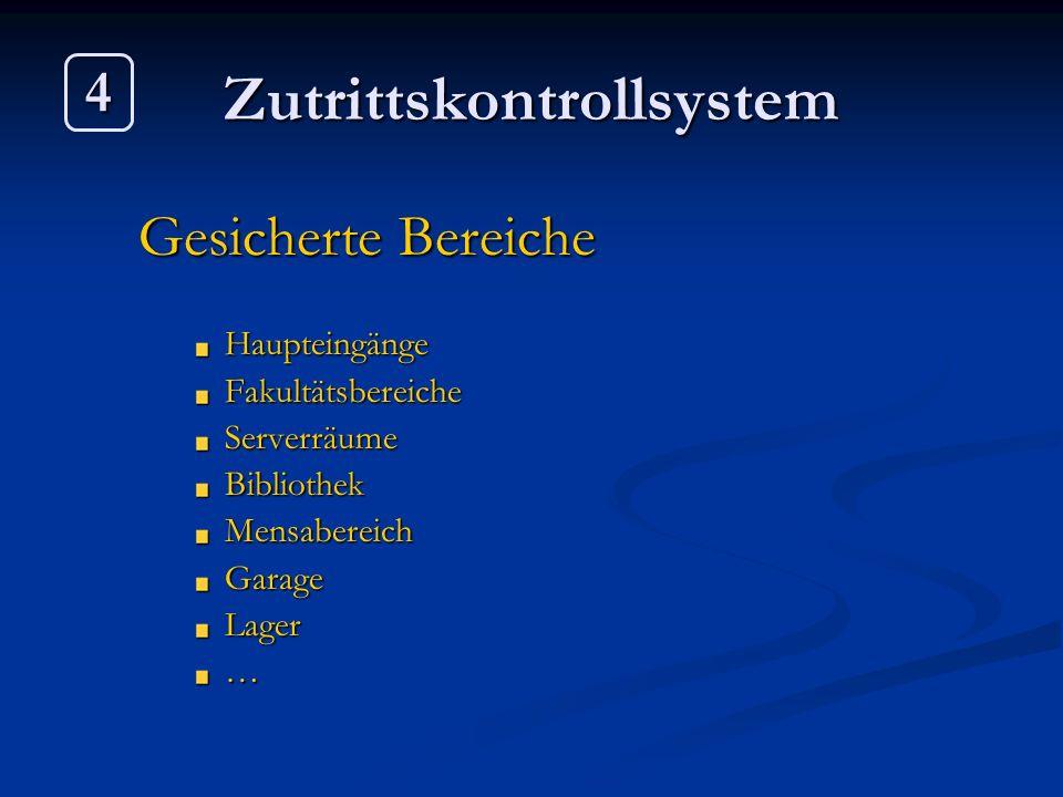 Zutrittskontrollsystem Gesicherte Bereiche HaupteingängeFakultätsbereicheServerräumeBibliothekMensabereichGarageLager… 4