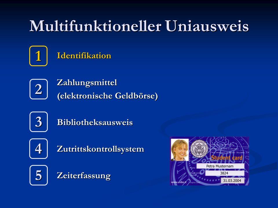 Multifunktioneller Uniausweis IdentifikationZahlungsmittel (elektronische Geldbörse) BibliotheksausweisZutrittskontrollsystemZeiterfassung 1 2 3 4 5