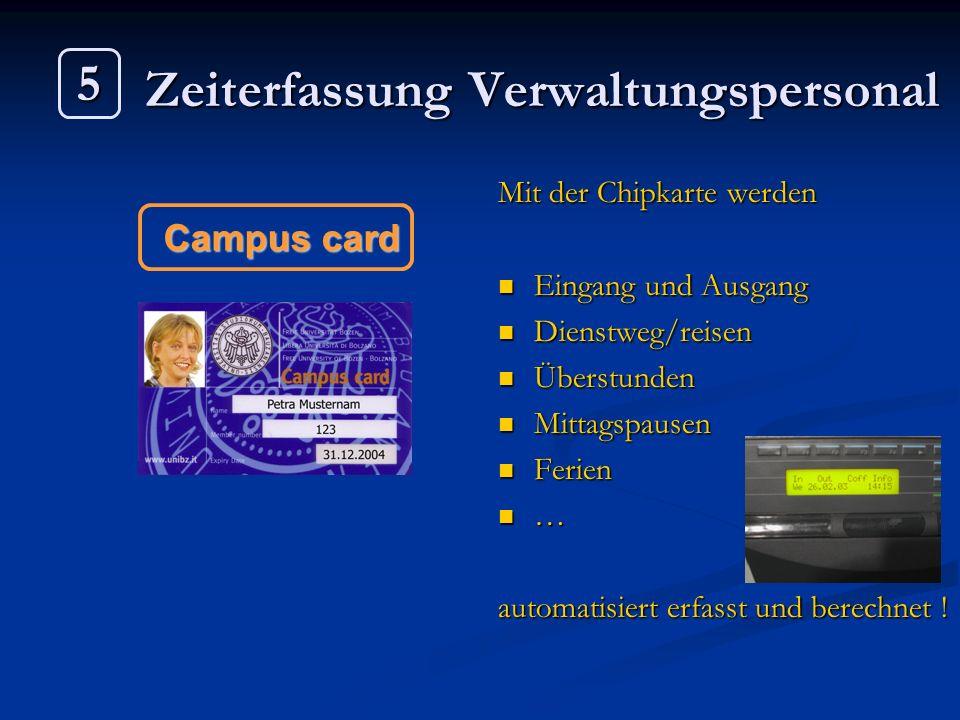 Zeiterfassung Verwaltungspersonal Mit der Chipkarte werden Eingang und Ausgang Dienstweg/reisen Überstunden Mittagspausen Ferien … automatisiert erfas