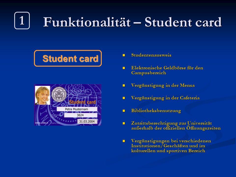 Funktionalität – Student card Studentenausweis Elektronische Geldbörse für den Campusbereich Vergünstigung in der Mensa Vergünstigung in der Cafeteria