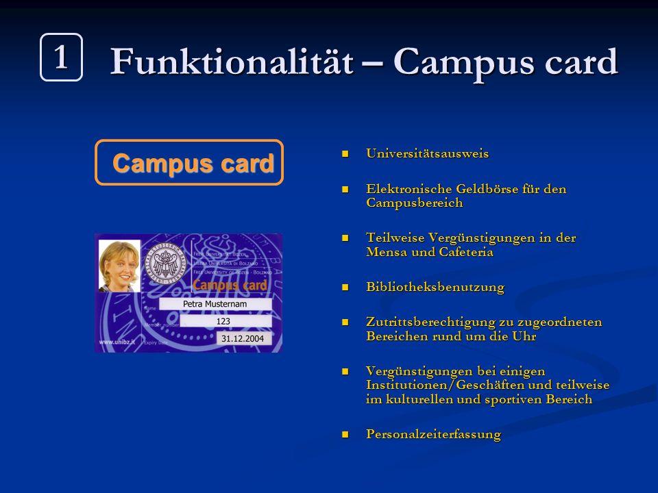 Funktionalität – Campus card Universitätsausweis Elektronische Geldbörse für den Campusbereich Teilweise Vergünstigungen in der Mensa und Cafeteria Bi