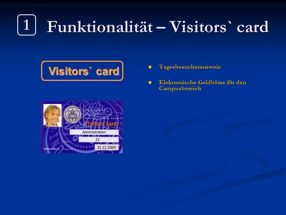 Funktionalität – Visitors` card Tagesbesucherausweis Elektronische Geldbörse für den Campusbereich Visitors` card 1