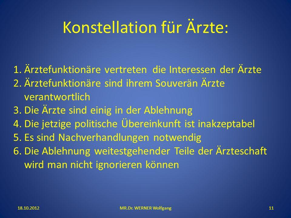 Konstellation für Ärzte: 18.10.2012MR.Dr. WERNER Wolfgang11 1.Ärztefunktionäre vertreten die Interessen der Ärzte 2.Ärztefunktionäre sind ihrem Souver