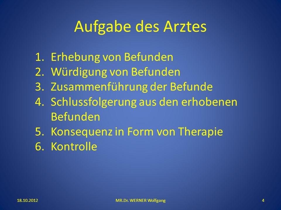 Aufgabe des Arztes 18.10.2012MR.Dr. WERNER Wolfgang4 1.Erhebung von Befunden 2.Würdigung von Befunden 3.Zusammenführung der Befunde 4.Schlussfolgerung