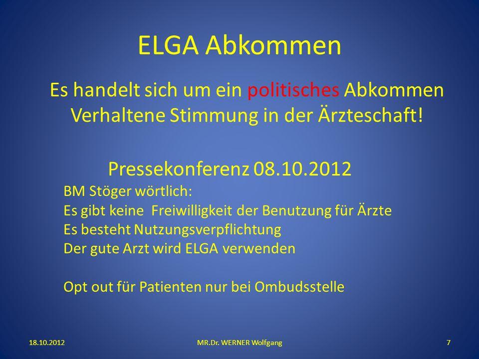ELGA Abkommen 18.10.2012MR.Dr. WERNER Wolfgang7 Pressekonferenz 08.10.2012 BM Stöger wörtlich: Es gibt keine Freiwilligkeit der Benutzung für Ärzte Es