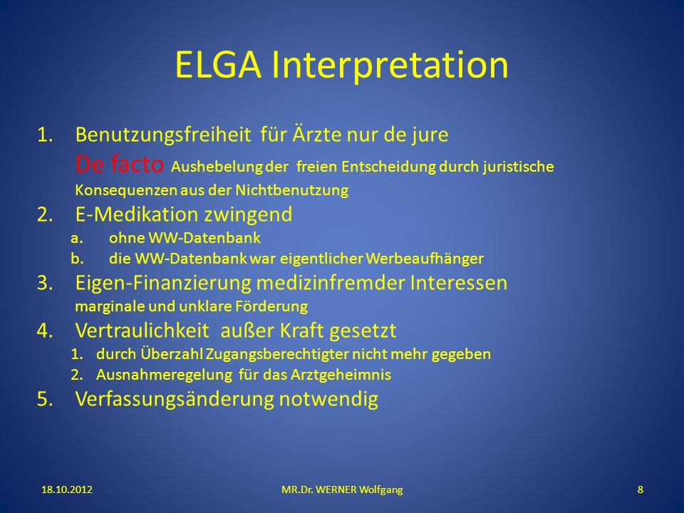 ELGA Interpretation 18.10.2012MR.Dr.