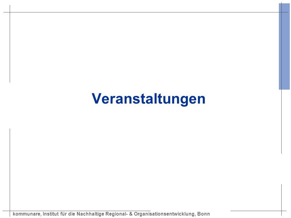kommunare, Institut für die Nachhaltige Regional- & Organisationsentwicklung, Bonn Veranstaltungen