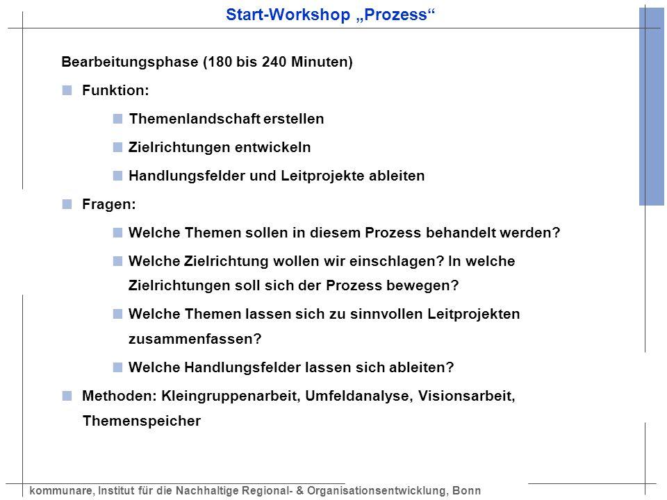kommunare, Institut für die Nachhaltige Regional- & Organisationsentwicklung, Bonn Start-Workshop Prozess Bearbeitungsphase (180 bis 240 Minuten) Funk