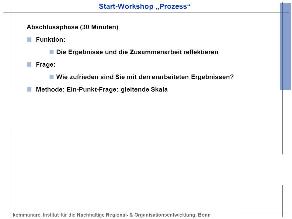 kommunare, Institut für die Nachhaltige Regional- & Organisationsentwicklung, Bonn Start-Workshop Prozess Abschlussphase (30 Minuten) Funktion: Die Er