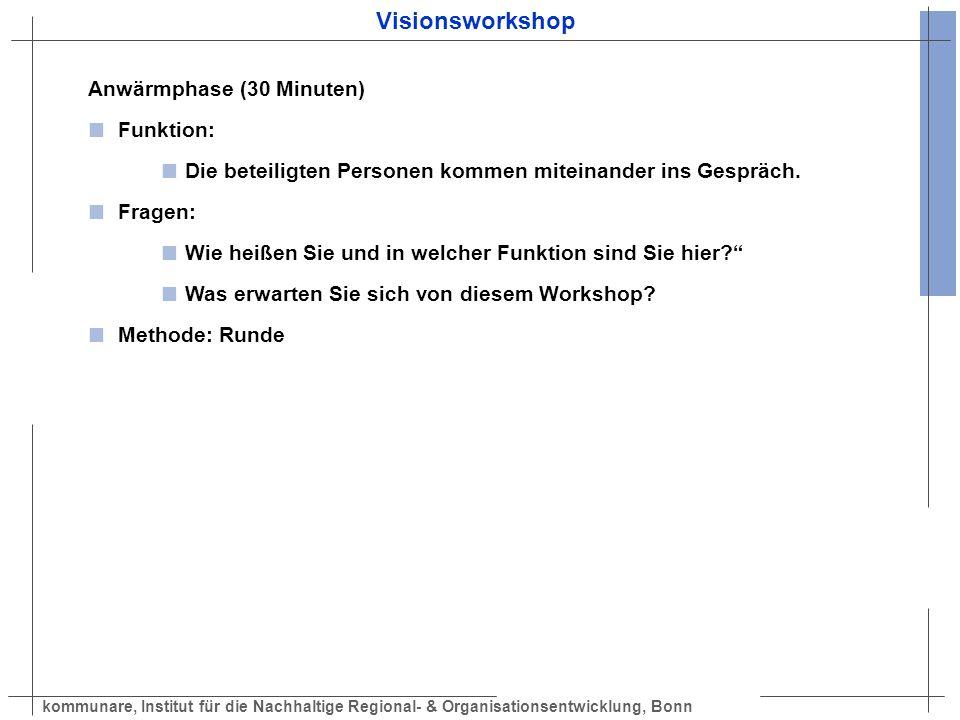 kommunare, Institut für die Nachhaltige Regional- & Organisationsentwicklung, Bonn Visionsworkshop Anwärmphase (30 Minuten) Funktion: Die beteiligten