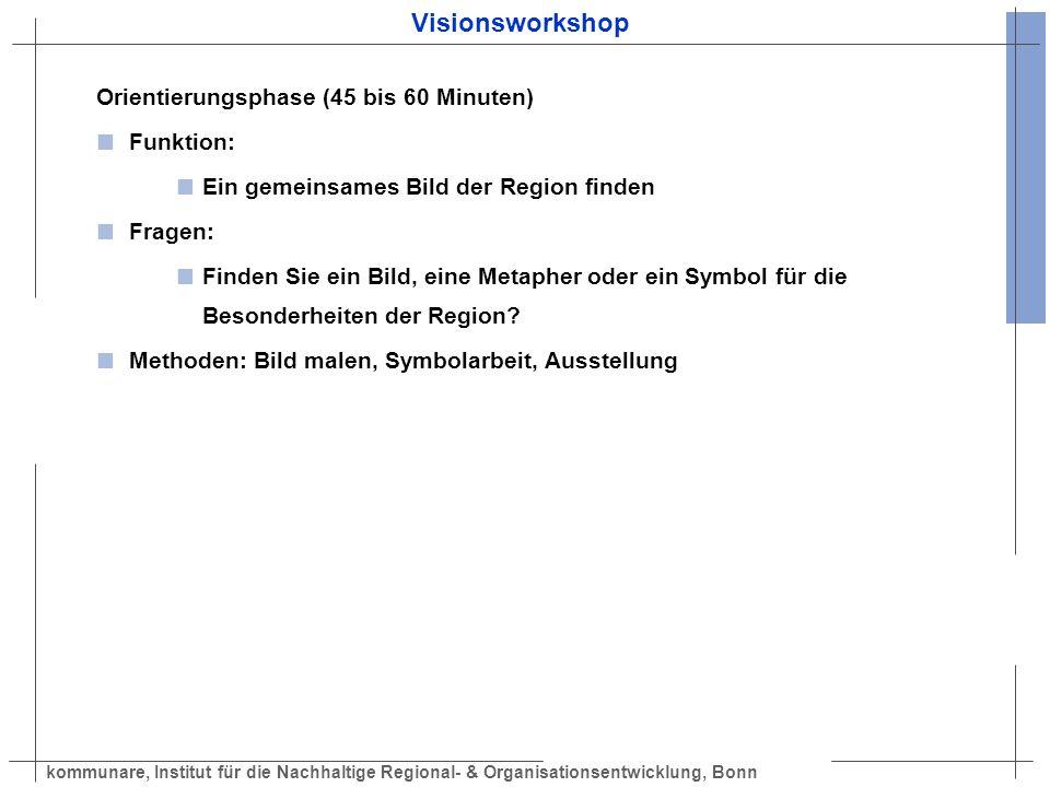 kommunare, Institut für die Nachhaltige Regional- & Organisationsentwicklung, Bonn Visionsworkshop Orientierungsphase (45 bis 60 Minuten) Funktion: Ei