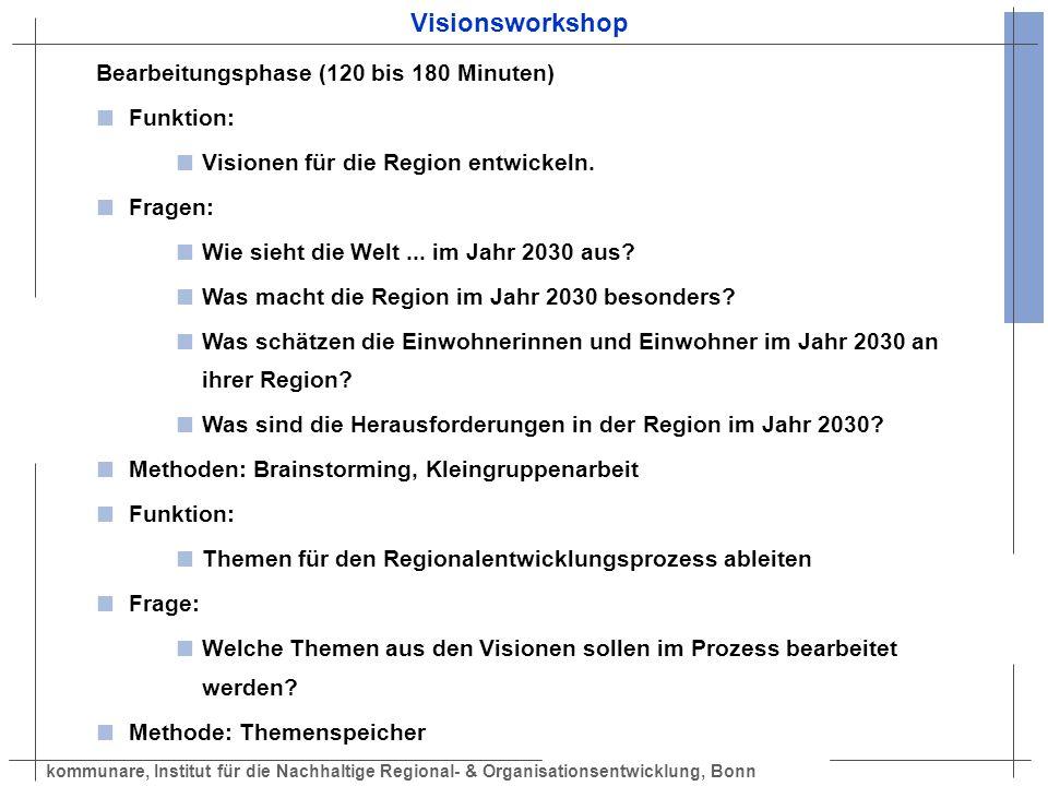 kommunare, Institut für die Nachhaltige Regional- & Organisationsentwicklung, Bonn Visionsworkshop Bearbeitungsphase (120 bis 180 Minuten) Funktion: V