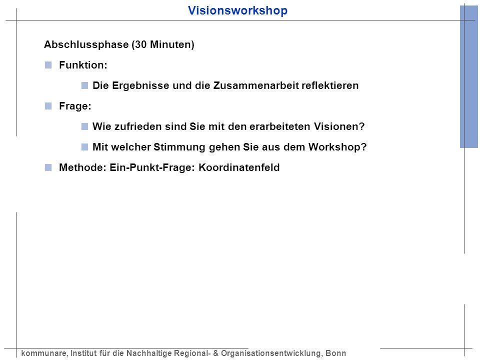 kommunare, Institut für die Nachhaltige Regional- & Organisationsentwicklung, Bonn Visionsworkshop Abschlussphase (30 Minuten) Funktion: Die Ergebniss
