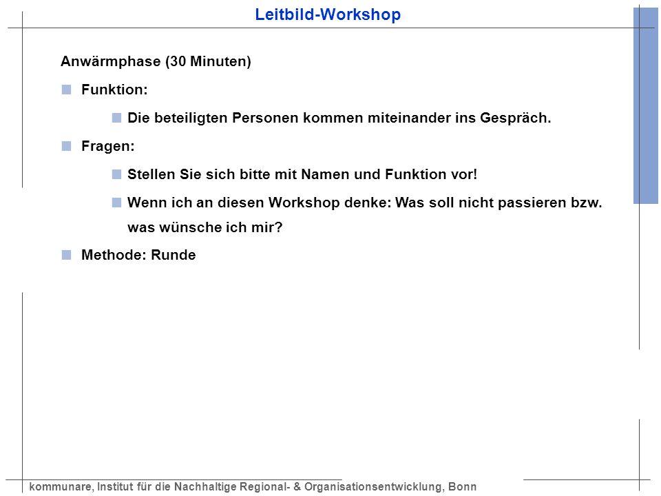 kommunare, Institut für die Nachhaltige Regional- & Organisationsentwicklung, Bonn Leitbild-Workshop Anwärmphase (30 Minuten) Funktion: Die beteiligte