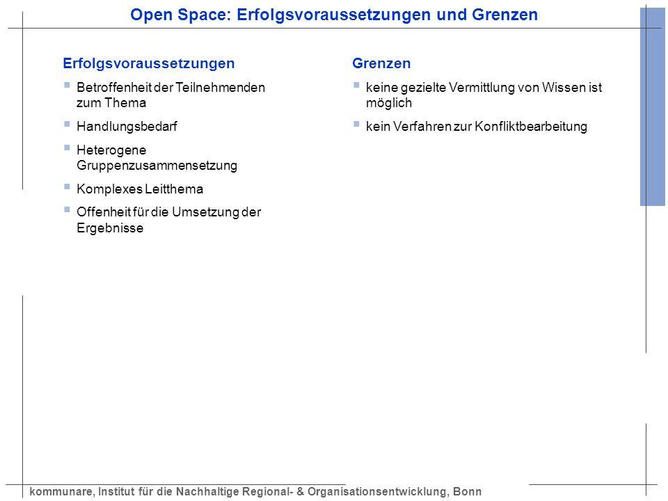 kommunare, Institut für die Nachhaltige Regional- & Organisationsentwicklung, Bonn Open Space: Erfolgsvoraussetzungen und Grenzen Erfolgsvoraussetzung