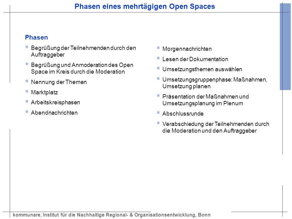 kommunare, Institut für die Nachhaltige Regional- & Organisationsentwicklung, Bonn Phasen eines mehrtägigen Open Spaces Phasen Begrüßung der Teilnehme