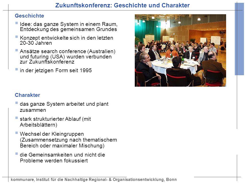 kommunare, Institut für die Nachhaltige Regional- & Organisationsentwicklung, Bonn Zukunftskonferenz: Geschichte und Charakter Geschichte Idee: das ga