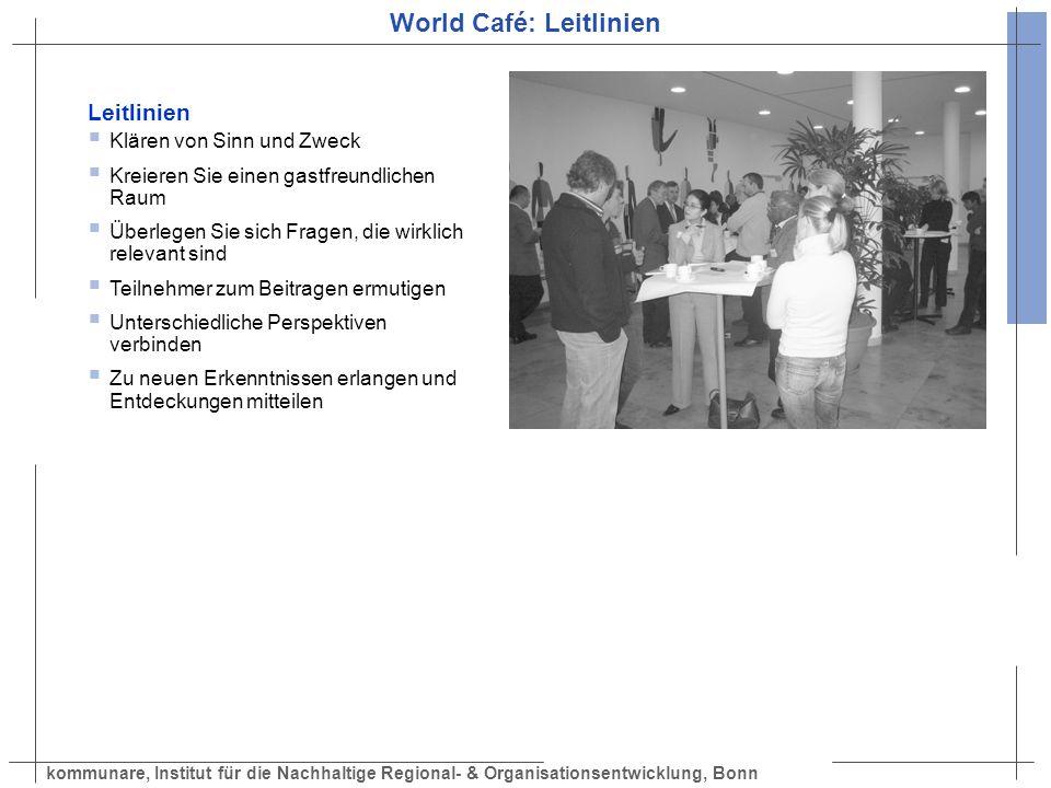 kommunare, Institut für die Nachhaltige Regional- & Organisationsentwicklung, Bonn World Café: Leitlinien Leitlinien Klären von Sinn und Zweck Kreiere