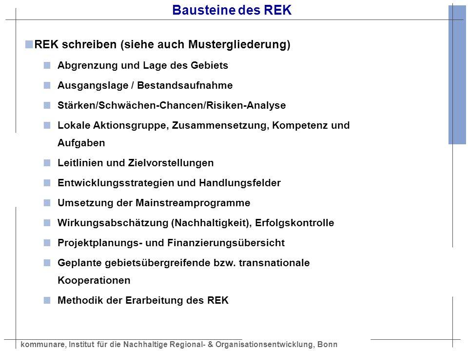 kommunare, Institut für die Nachhaltige Regional- & Organisationsentwicklung, Bonn Bausteine des REK REK schreiben (siehe auch Mustergliederung) Abgre