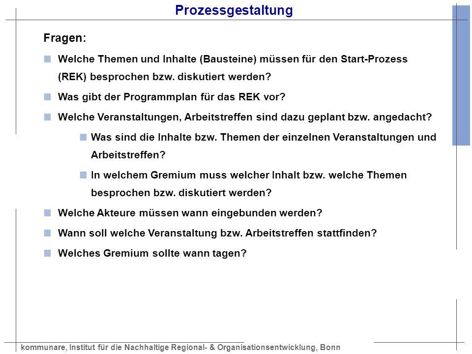 kommunare, Institut für die Nachhaltige Regional- & Organisationsentwicklung, Bonn Start-Workshop Prozess Orientierungsphase (30 bis 45 Minuten) Funktion: Gemeinsamen Kenntnisstand über die Rahmenbedingungen und eine Bestandsanalyse herstellen.