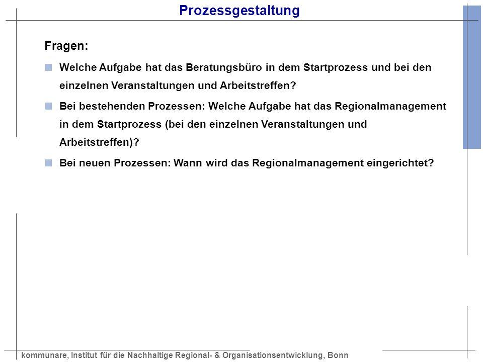 kommunare, Institut für die Nachhaltige Regional- & Organisationsentwicklung, Bonn Prozessgestaltung Fragen: Welche Aufgabe hat das Beratungsbüro in d