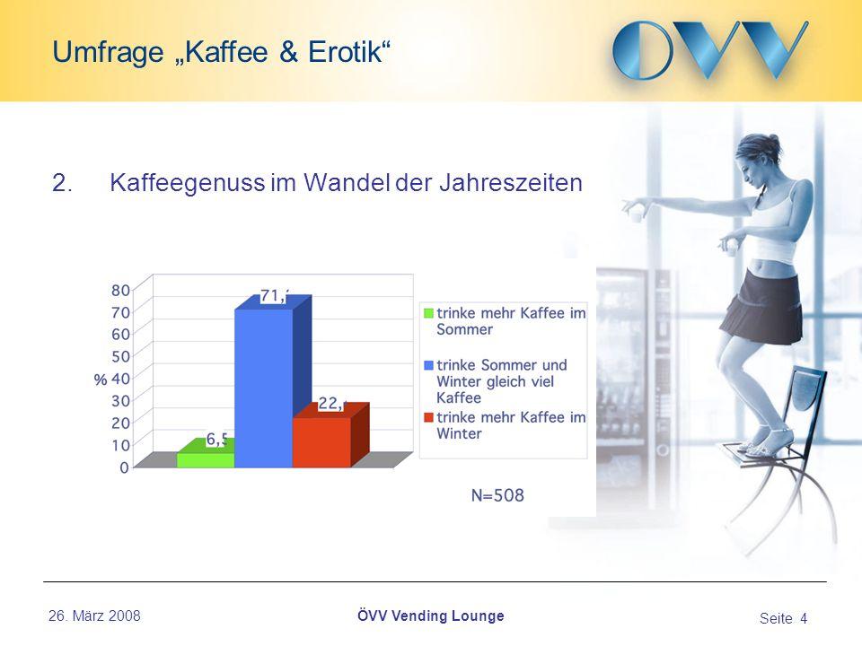 26. März 2008 Seite 4 Umfrage Kaffee & Erotik ÖVV Vending Lounge 2.Kaffeegenuss im Wandel der Jahreszeiten...