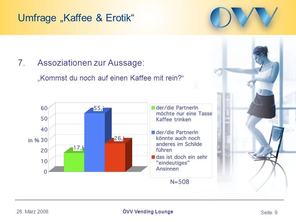 26. März 2008 Seite 9 Umfrage Kaffee & Erotik ÖVV Vending Lounge 7.Assoziationen zur Aussage: Kommst du noch auf einen Kaffee mit rein?...