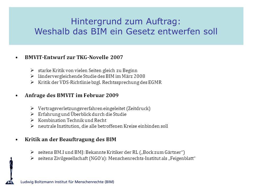 BMVIT-Entwurf zur TKG-Novelle 2007 starke Kritik von vielen Seiten gleich zu Beginn ländervergleichende Studie des BIM im März 2008 Kritik der VDS-Ric