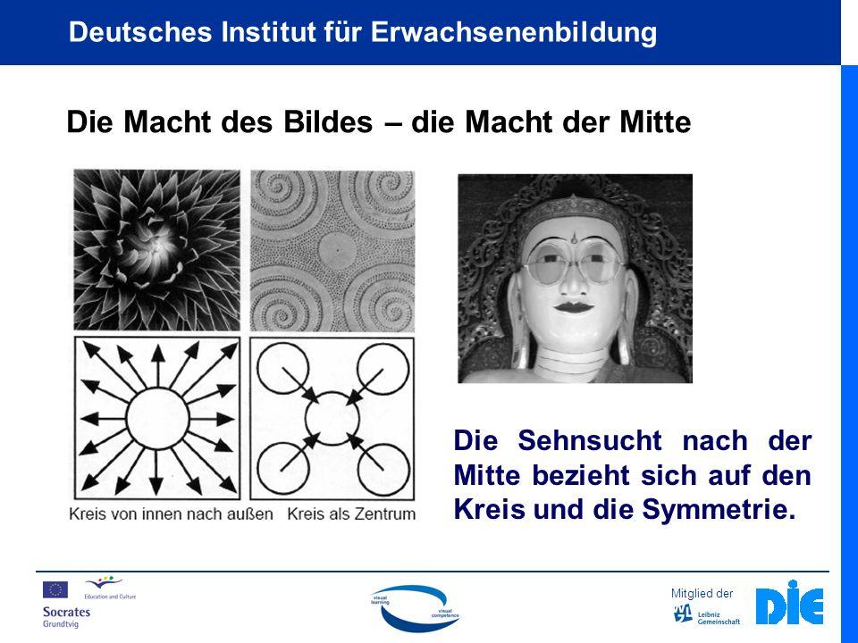 Mitglied der Deutsches Institut für Erwachsenenbildung Die Macht des Bildes – die Macht der Mitte Die Sehnsucht nach der Mitte bezieht sich auf den Kreis und die Symmetrie.