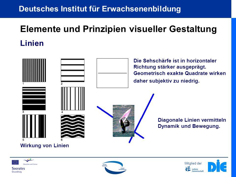 Mitglied der Deutsches Institut für Erwachsenenbildung Elemente und Prinzipien visueller Gestaltung Linien Wirkung von Linien Die Sehschärfe ist in horizontaler Richtung stärker ausgeprägt.