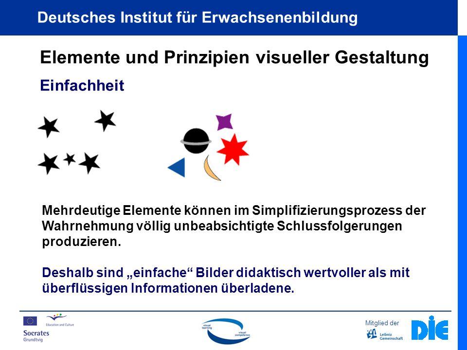 Mitglied der Deutsches Institut für Erwachsenenbildung Elemente und Prinzipien visueller Gestaltung Einfachheit Mehrdeutige Elemente können im Simplifizierungsprozess der Wahrnehmung völlig unbeabsichtigte Schlussfolgerungen produzieren.