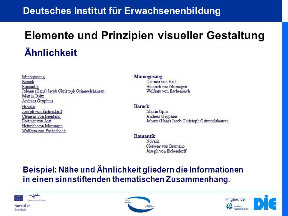 Mitglied der Deutsches Institut für Erwachsenenbildung Elemente und Prinzipien visueller Gestaltung Ähnlichkeit Beispiel: Nähe und Ähnlichkeit gliedern die Informationen in einen sinnstiftenden thematischen Zusammenhang.