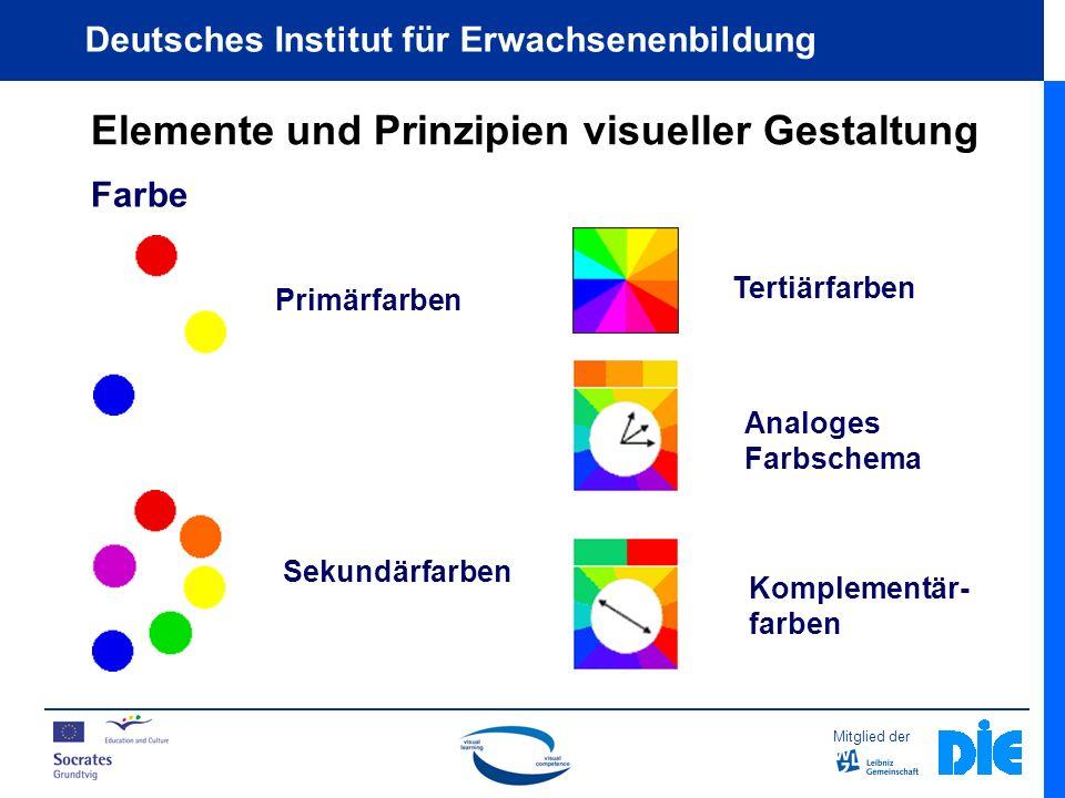 Mitglied der Deutsches Institut für Erwachsenenbildung Elemente und Prinzipien visueller Gestaltung Farbe Primärfarben Sekundärfarben Tertiärfarben Analoges Farbschema Komplementär- farben