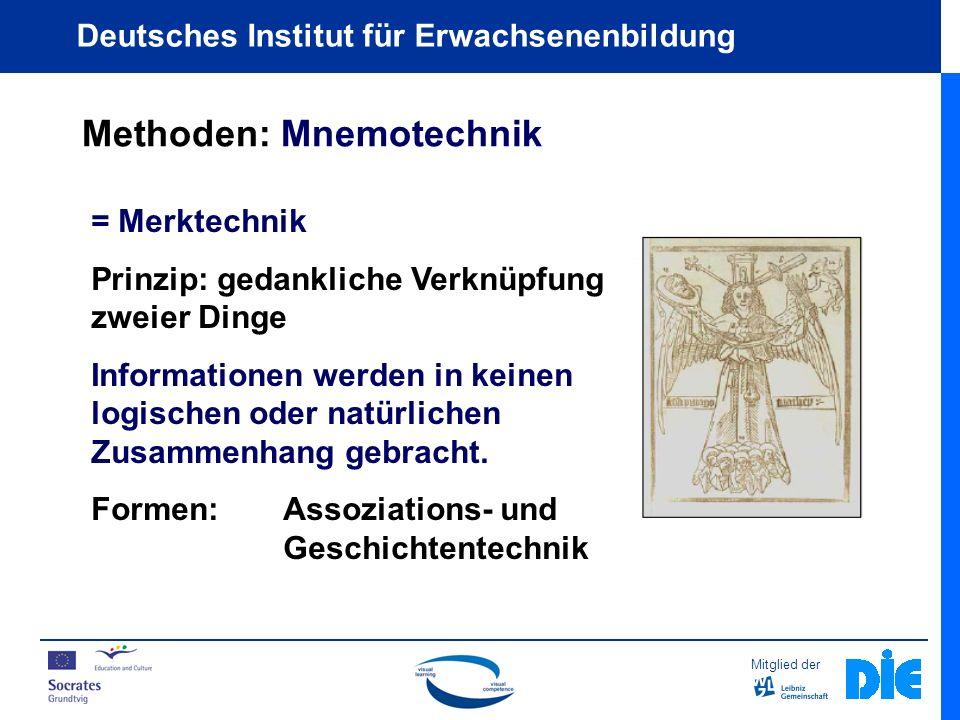 Mitglied der Deutsches Institut für Erwachsenenbildung Methoden: Mnemotechnik = Merktechnik Prinzip: gedankliche Verknüpfung zweier Dinge Informationen werden in keinen logischen oder natürlichen Zusammenhang gebracht.