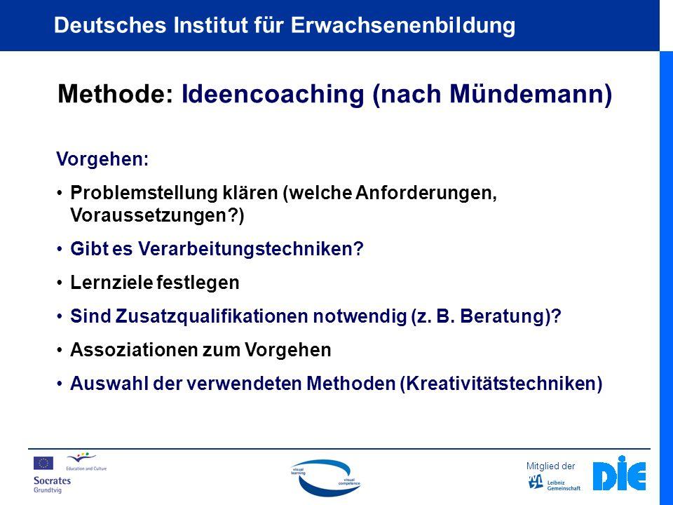 Mitglied der Deutsches Institut für Erwachsenenbildung Methode: Ideencoaching (nach Mündemann) Vorgehen: Problemstellung klären (welche Anforderungen, Voraussetzungen?) Gibt es Verarbeitungstechniken.