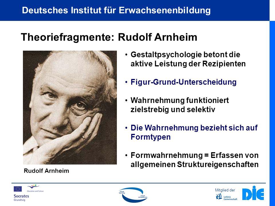 Mitglied der Deutsches Institut für Erwachsenenbildung Theoriefragmente: Rudolf Arnheim Rudolf Arnheim Gestaltpsychologie betont die aktive Leistung der Rezipienten Figur-Grund-Unterscheidung Wahrnehmung funktioniert zielstrebig und selektiv Die Wahrnehmung bezieht sich auf Formtypen Formwahrnehmung = Erfassen von allgemeinen Struktureigenschaften