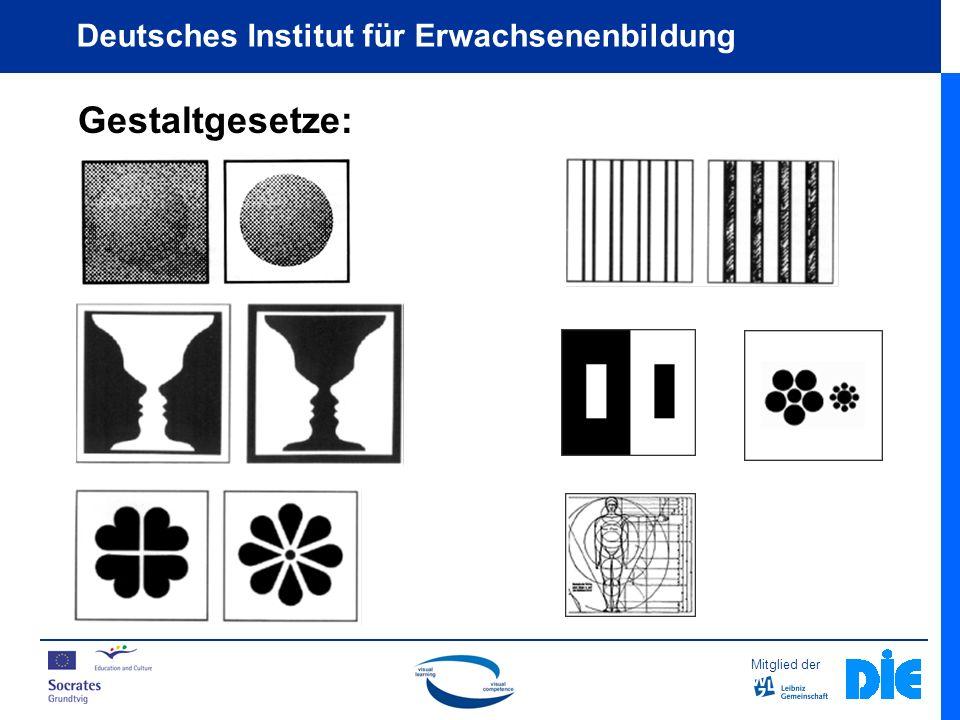 Mitglied der Deutsches Institut für Erwachsenenbildung Elemente und Prinzipien visueller Gestaltung Flächen / Prägnanz (gute Gestalt) Für die Gestaltung visueller Lehrmittel bedeutet das: Sie sollten über einfache Strukturen und ein symmetrisches Layout verfügen.