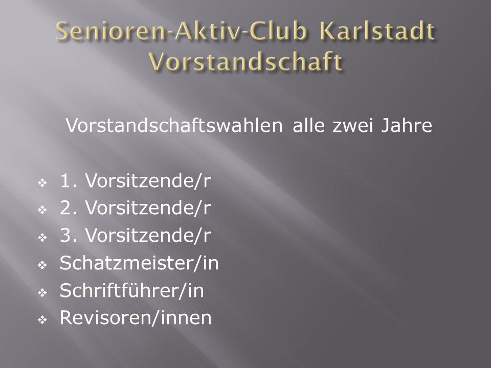 Vorstandschaftswahlen alle zwei Jahre 1. Vorsitzende/r 2. Vorsitzende/r 3. Vorsitzende/r Schatzmeister/in Schriftführer/in Revisoren/innen