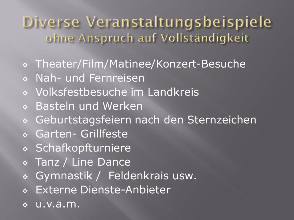Theater/Film/Matinee/Konzert-Besuche Nah- und Fernreisen Volksfestbesuche im Landkreis Basteln und Werken Geburtstagsfeiern nach den Sternzeichen Gart