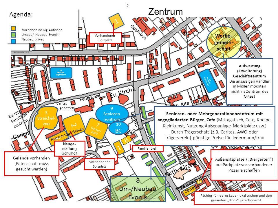 9 Senioren -zentrum 10 BC 1 3 Streichel- zoo Caritas Jugendtreff 2 1 4 Außensitzplätze (Biergarten) auf Parkplatz vor vorhandener Pizzeria schaffen Ev