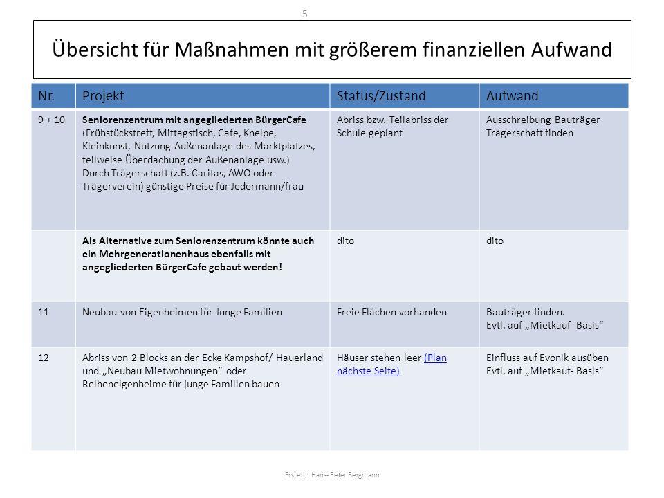 Übersicht für Maßnahmen mit größerem finanziellen Aufwand Nr.ProjektStatus/ZustandAufwand 9 + 10Seniorenzentrum mit angegliederten BürgerCafe (Frühstü