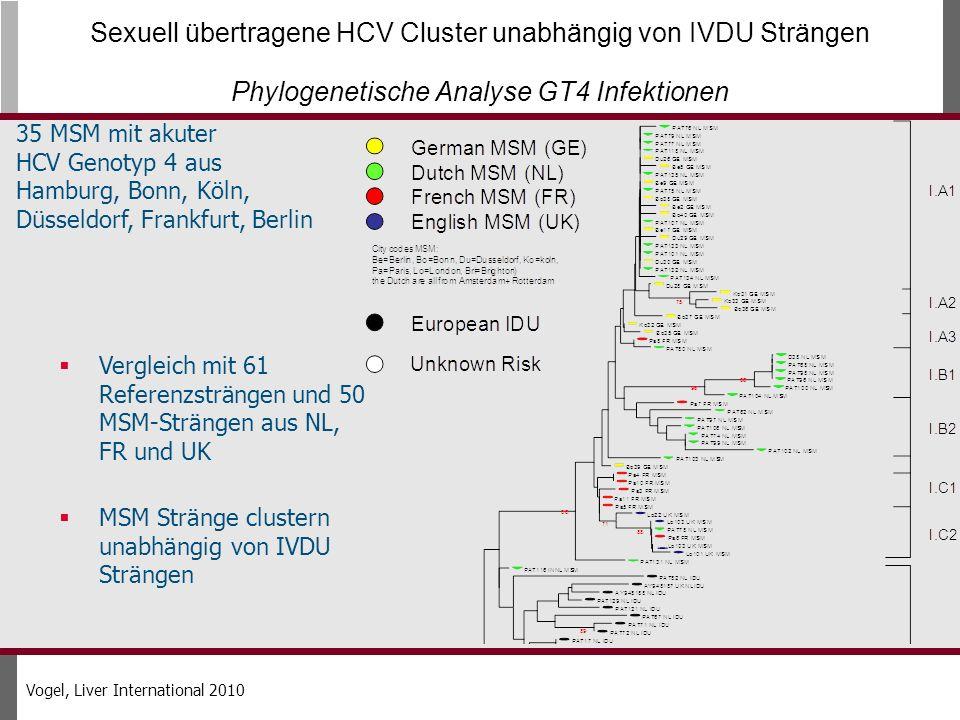 35 MSM mit akuter HCV Genotyp 4 aus Hamburg, Bonn, Köln, Düsseldorf, Frankfurt, Berlin Sexuell übertragene HCV Cluster unabhängig von IVDU Strängen Phylogenetische Analyse GT4 Infektionen Vergleich mit 61 Referenzsträngen und 50 MSM-Strängen aus NL, FR und UK MSM Stränge clustern unabhängig von IVDU Strängen Vogel, Liver International 2010