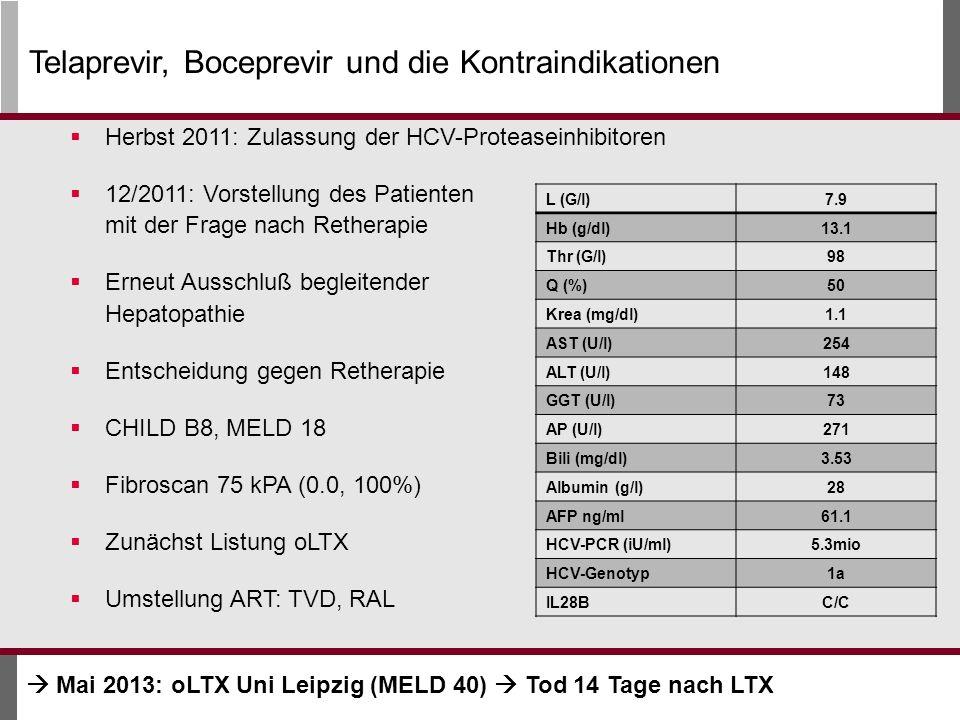 Herbst 2011: Zulassung der HCV-Proteaseinhibitoren 12/2011: Vorstellung des Patienten mit der Frage nach Retherapie Erneut Ausschluß begleitender Hepatopathie Entscheidung gegen Retherapie CHILD B8, MELD 18 Fibroscan 75 kPA (0.0, 100%) Zunächst Listung oLTX Umstellung ART: TVD, RAL L (G/l)7.9 Hb (g/dl)13.1 Thr (G/l)98 Q (%)50 Krea (mg/dl)1.1 AST (U/l)254 ALT (U/l)148 GGT (U/l)73 AP (U/l)271 Bili (mg/dl)3.53 Albumin (g/l)28 AFP ng/ml61.1 HCV-PCR (iU/ml)5.3mio HCV-Genotyp1a IL28BC/C Telaprevir, Boceprevir und die Kontraindikationen Mai 2013: oLTX Uni Leipzig (MELD 40) Tod 14 Tage nach LTX