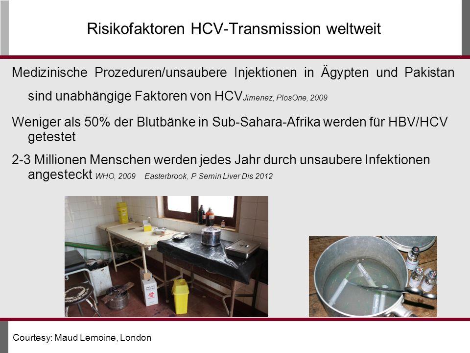 Medizinische Prozeduren/unsaubere Injektionen in Ägypten und Pakistan sind unabhängige Faktoren von HCV Jimenez, PlosOne, 2009 Weniger als 50% der Blutbänke in Sub-Sahara-Afrika werden für HBV/HCV getestet 2-3 Millionen Menschen werden jedes Jahr durch unsaubere Infektionen angesteckt WHO, 2009 Easterbrook, P Semin Liver Dis 2012 Risikofaktoren HCV-Transmission weltweit Courtesy: Maud Lemoine, London