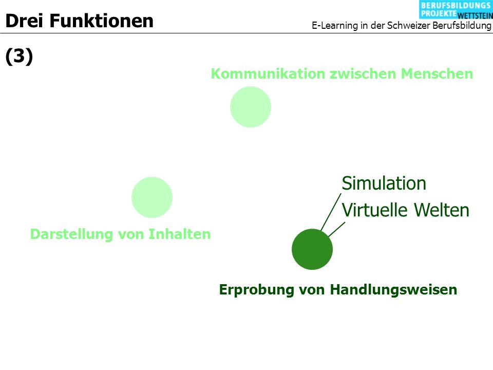 E-Learning in der Schweizer Berufsbildung Kommunikation zwischen Menschen Drei Funktionen (3) Darstellung von Inhalten Erprobung von Handlungsweisen Simulation Virtuelle Welten