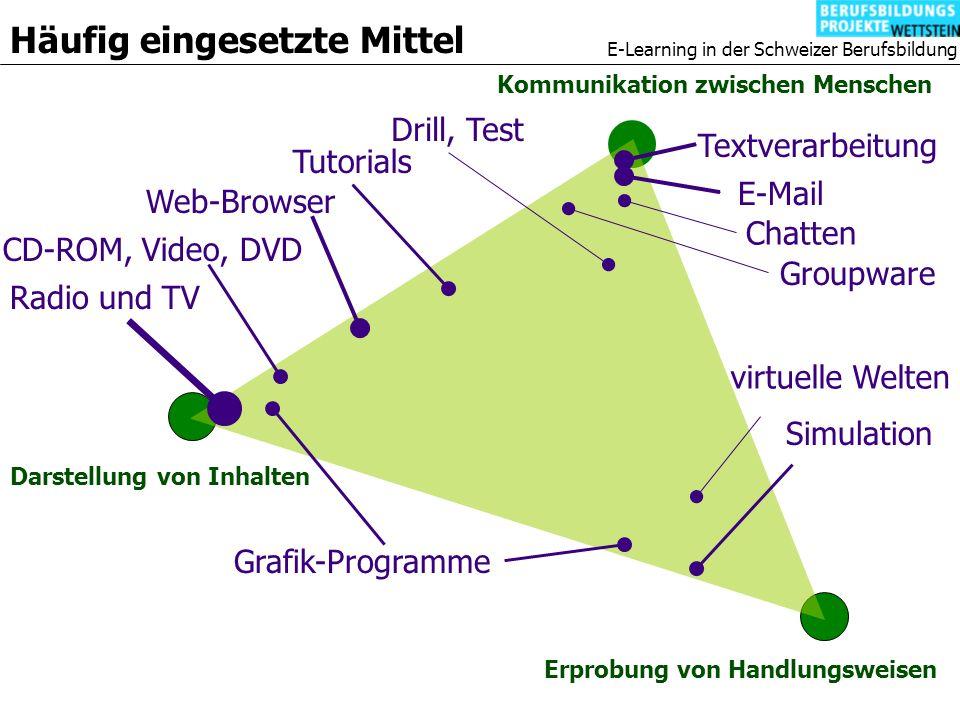 E-Learning in der Schweizer Berufsbildung Darstellung von Inhalten Kommunikation zwischen Menschen Erprobung von Handlungsweisen E-Mail Chatten Groupware Textverarbeitung Radio und TV Web-Browser CD-ROM, Video, DVD Tutorials Drill, Test Häufig eingesetzte Mittel Grafik-Programme Simulation virtuelle Welten